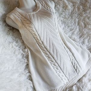 NWT New 100% Cotton Cream Cable Knit Sweater